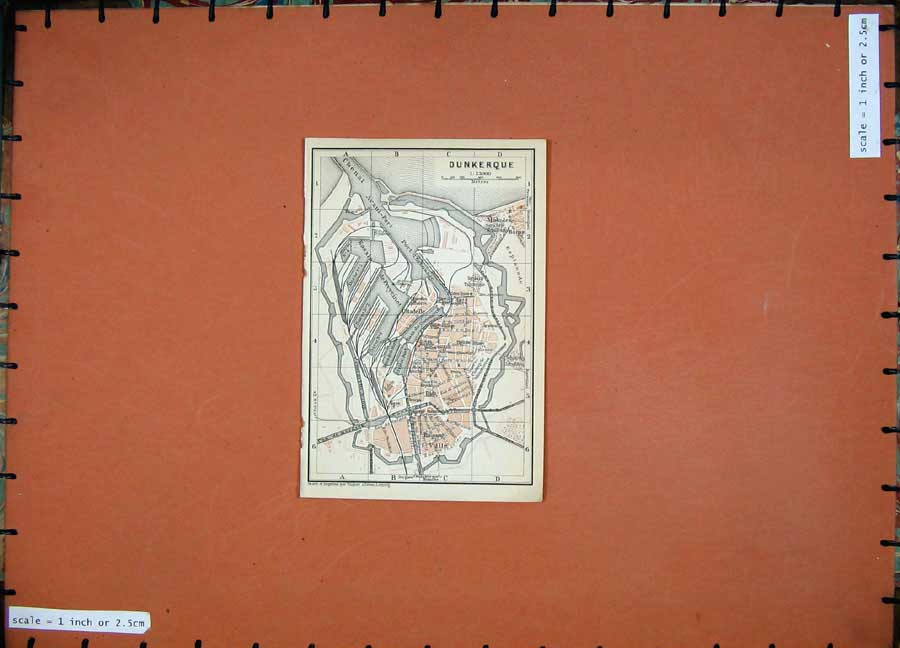 Print 1909 Colour Map Street Plan Dunkerque Northern France 105D142 Old Original