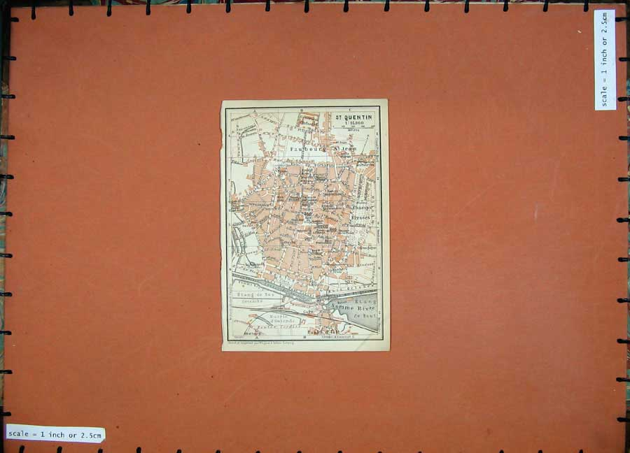 Print 1909 Colour Map Street Plan St Quentin Northern France 107D142 Old Original