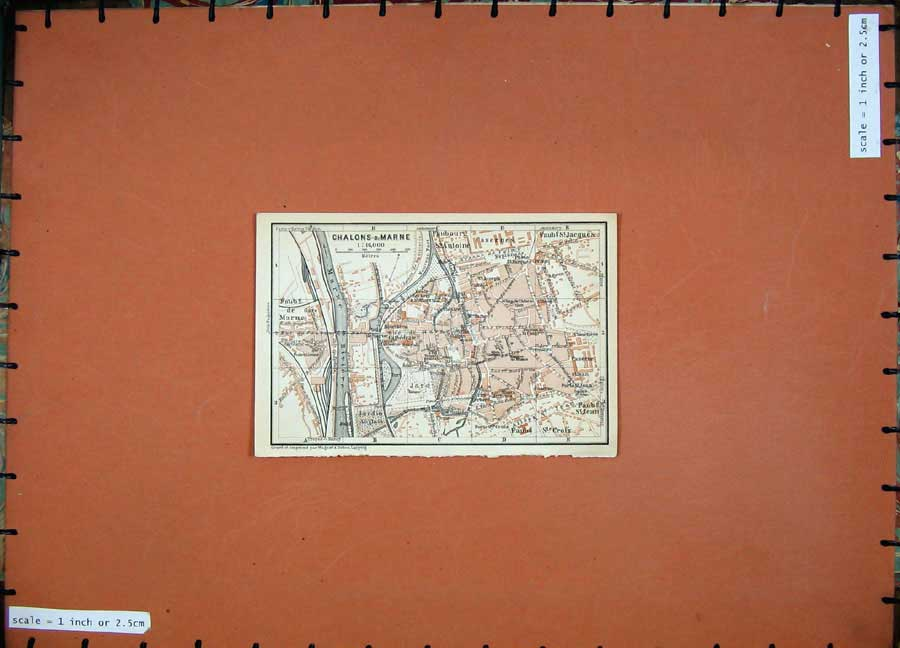 Print 1909 Colour Map Chalons Marne Street Plan North France 112D142 Old Original