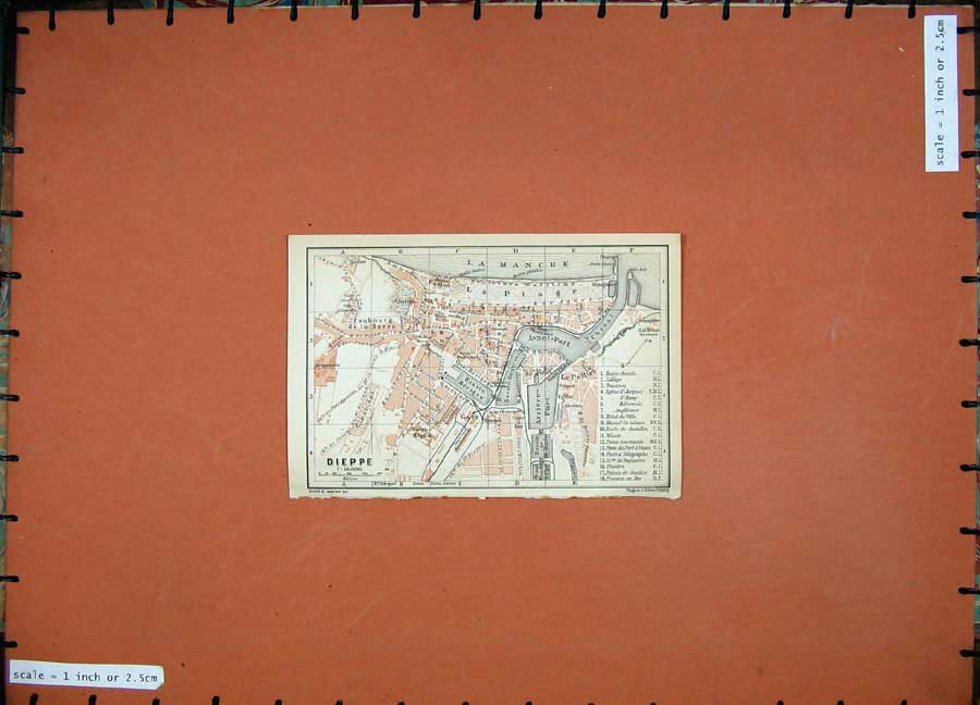Print 1909 Colour Map Street Plan Dieppe Northern France Port 114D142 Old Original