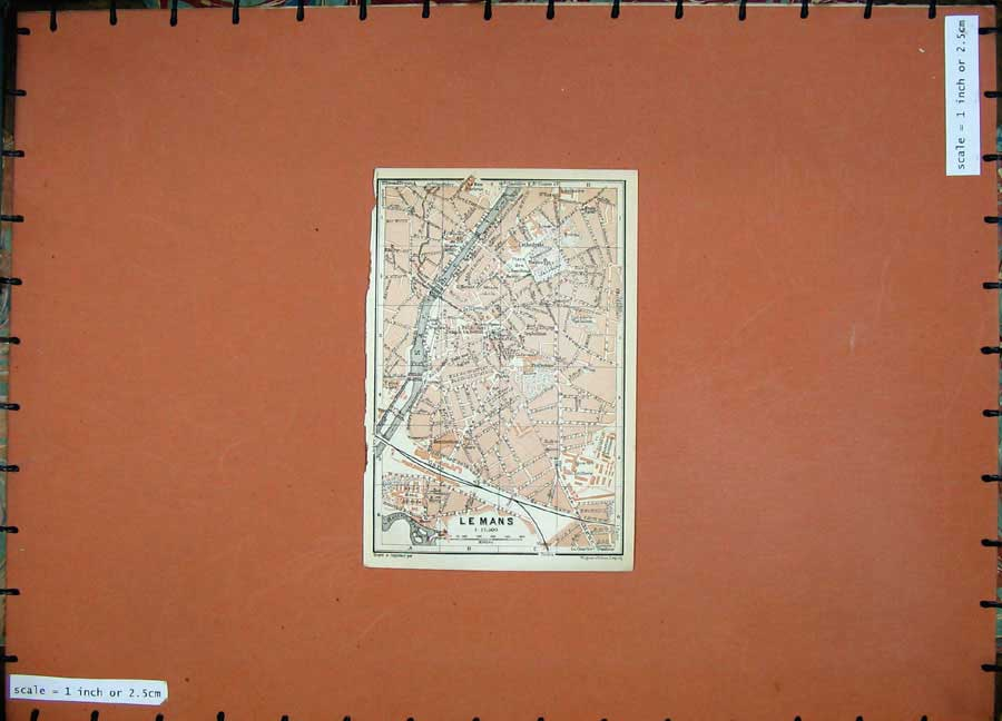 Print 1909 Colour Map Street Plan Le Mans Northern France 120D142 Old Original