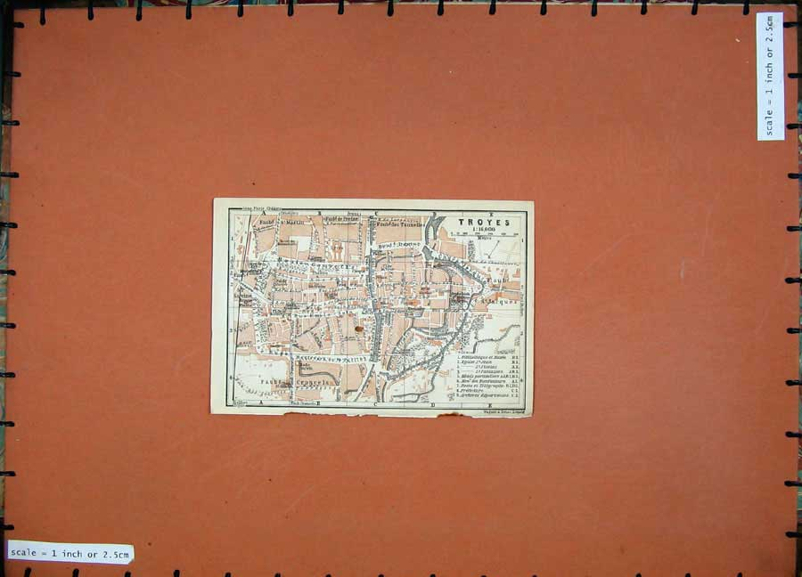 Print 1909 Colour Map Street Plan Troyes Northern France 124D142 Old Original