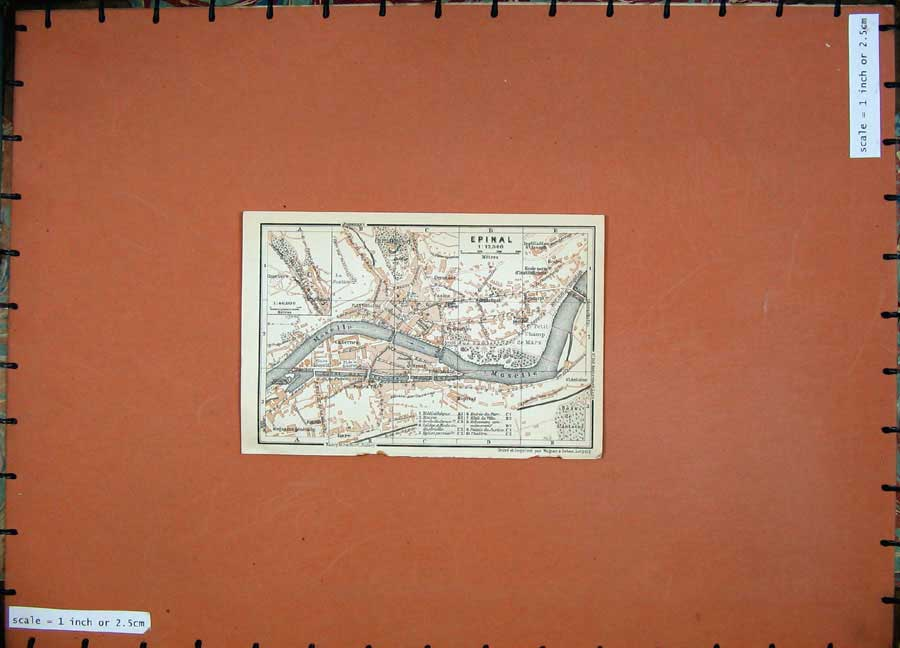 Print 1909 Colour Map Street Plan Epinal Moselle North France 127D142 Old Original