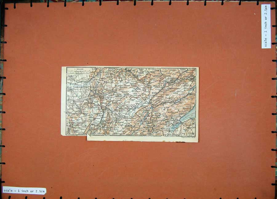 Print 1909 Colour Map Northern France Salins Pontarliers 128D142 Old Original