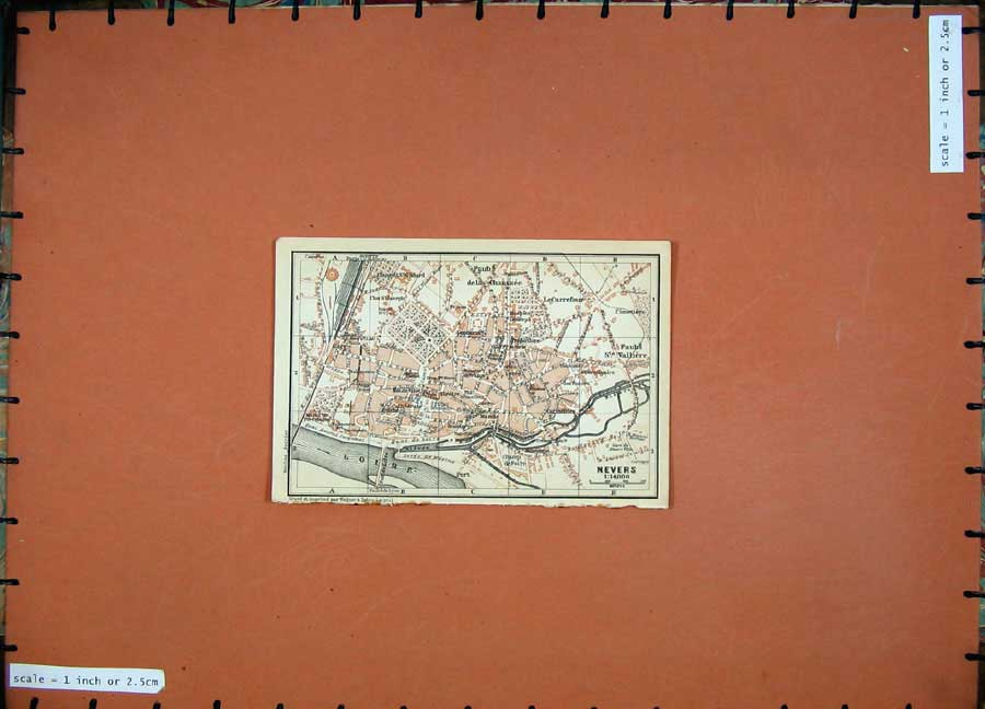 Print 1909 Colour Map Street Plan Nevers Northern France 138D142 Old Original