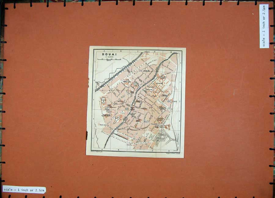 Print 1909 Colour Map Street Plan Douai Northern France 139D142 Old Original