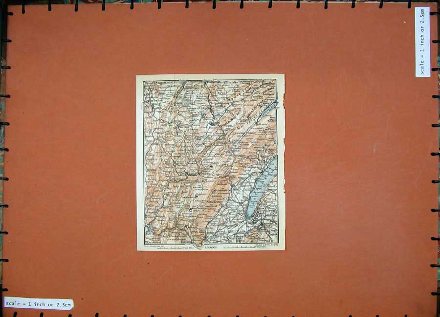 Print 1909 Northern France Colour Map Geneve Oyonnax Europe 141D142 Old Original