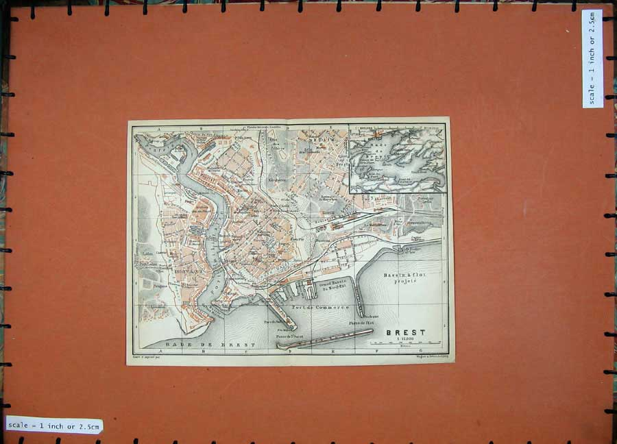 Print 1909 Colour Map Street Plan Brest Port Commerce France 153D142 Old Original