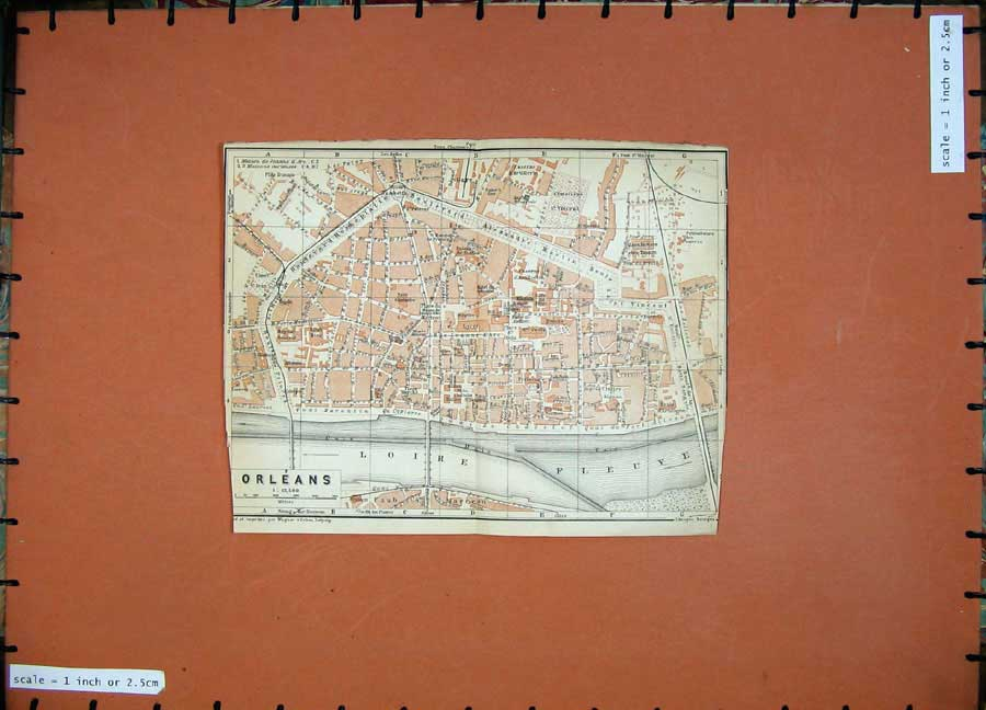 Print 1909 Colour Map Street Plan Orleans Loire North France 157D142 Old Original