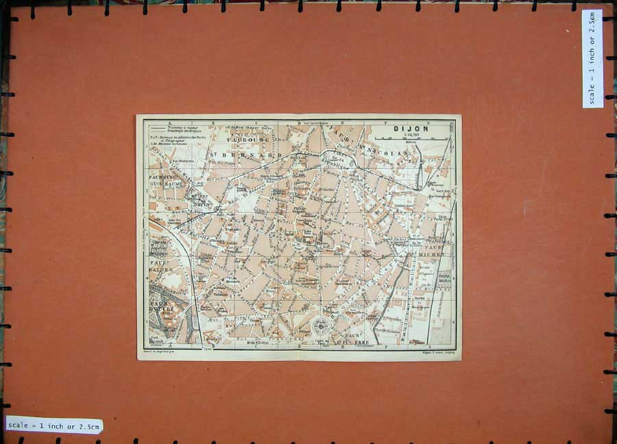 Print 1909 Colour Map Street Plan Dijon Bernard North France 160D142 Old Original