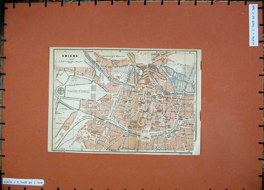 Print 1909 Colour Map Street Plan Amiens Northern France 161D142 Old Original