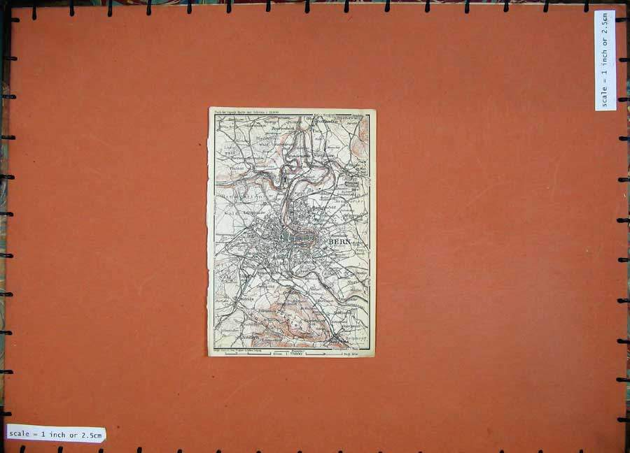 Print C1900 Colour Map Switzerland Street Plan Bern Muri 107D143 Old Original