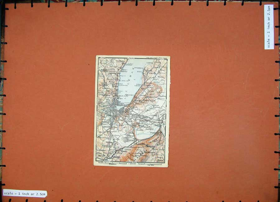 Print C1900 Colour Map Switzerland Geneve Gaillard Ferney 111D143 Old Original