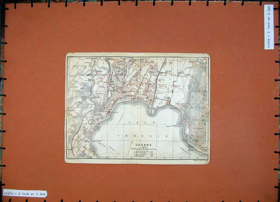 Print C1900 Colour Map Plan Lugano Lago Pregassona Lavena 115Rd143 Old Original