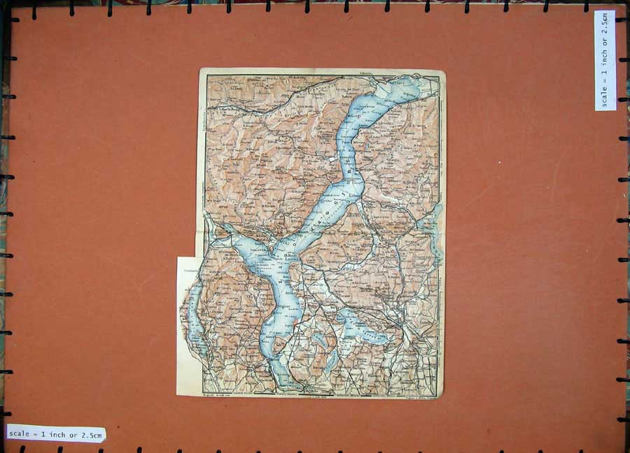 Print C1900 Colour Map Arona Stresa Pallanza Maggiore Baveno 117Rd143 Old Original