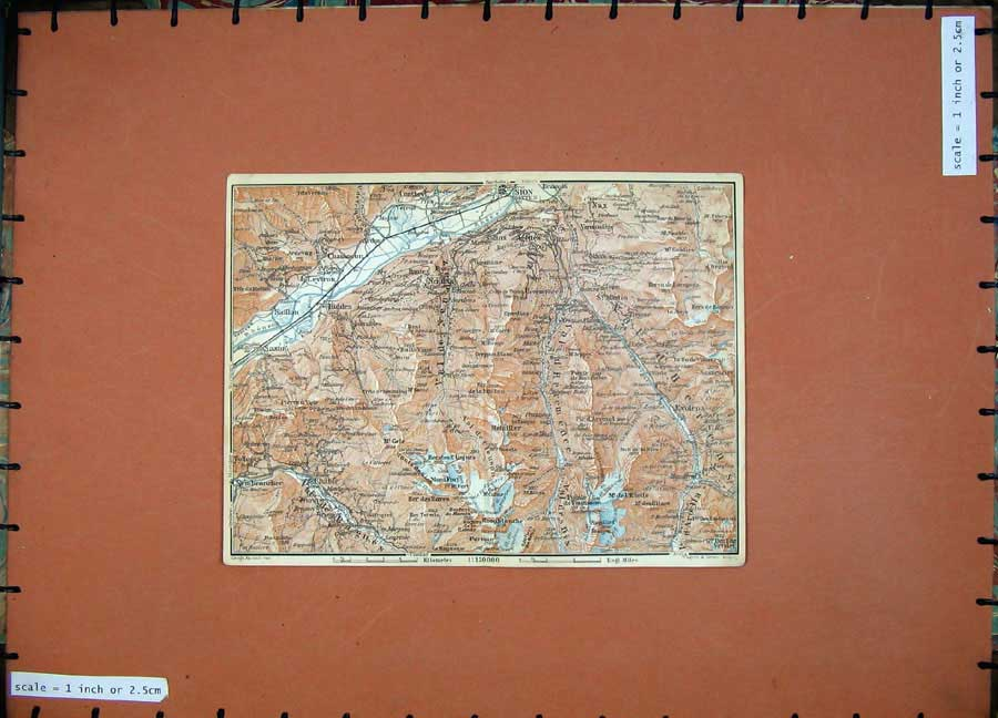 Print C1900 Colour Map Switzerland Sion Chamoson Chable Nax 119Rd143 Old Original
