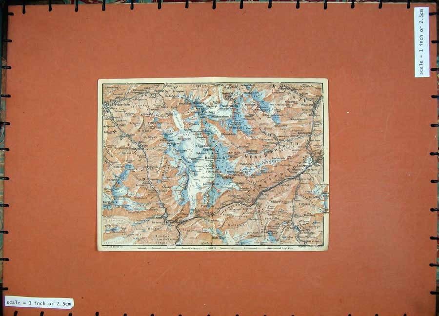 Print C1900 Colour Map Switzerland Ritzlih Wasseur Winterst 128D143 Old Original