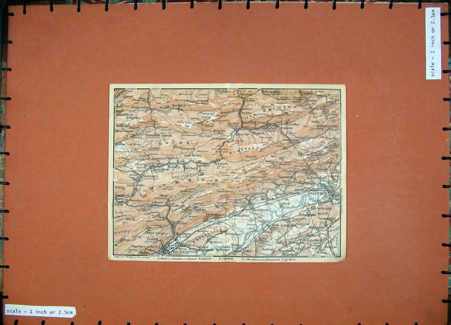 Print C1900 Colour Map Switzerland Solothur Buren Biel Moron 129D143 Old Original