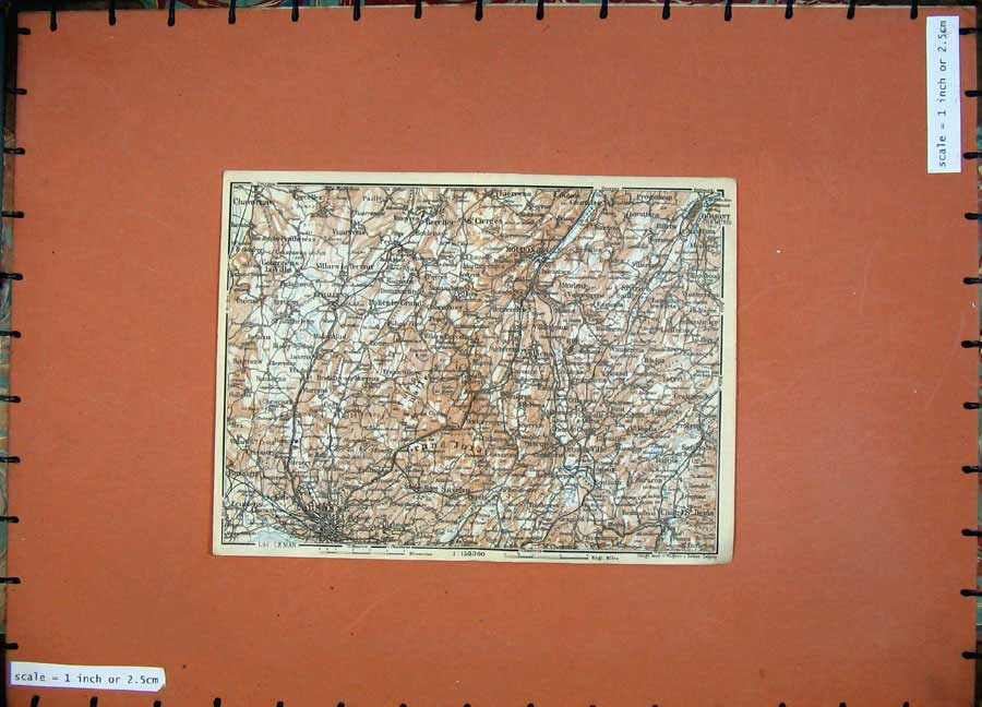 Print C1900 Colour Map Switzerland Lausanne Moudon Rodmont 130D143 Old Original