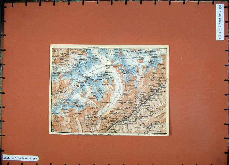 Print C1900 Colour Map Switzerland Aletschhorn Kranzberg 137D143 Old Original