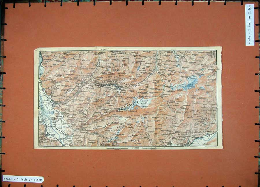 Print C1900 Colour Map Switzerland Sion Villeneuve Monthey 150D143 Old Original