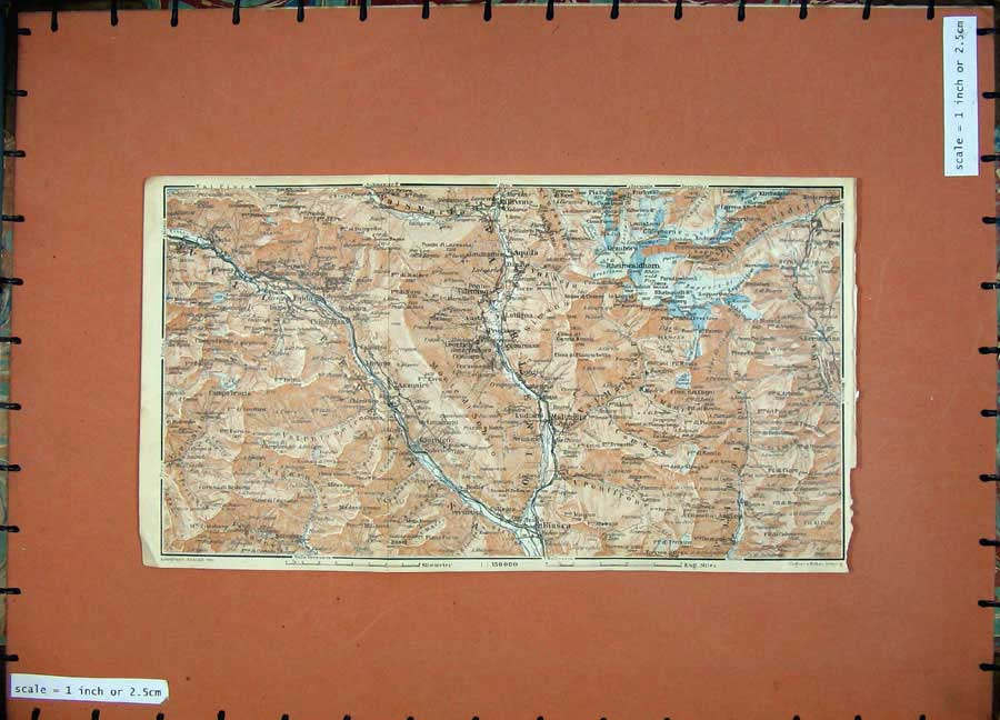Print C1900 Colour Map Switzerland Olivone Faido Biasca Bodio 160D143 Old Original