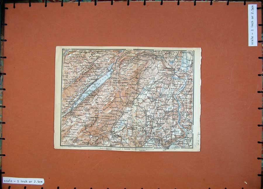Print C1900 Colour Map Switzerland Boudry Yverdon Mollens 165Rd143 Old Original