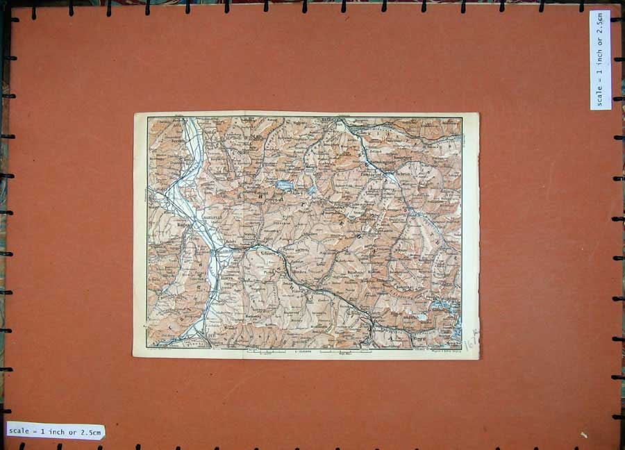 Print C1900 Colour Map Switzerland Ragaz Schiers Felsberg 167Rd143 Old Original