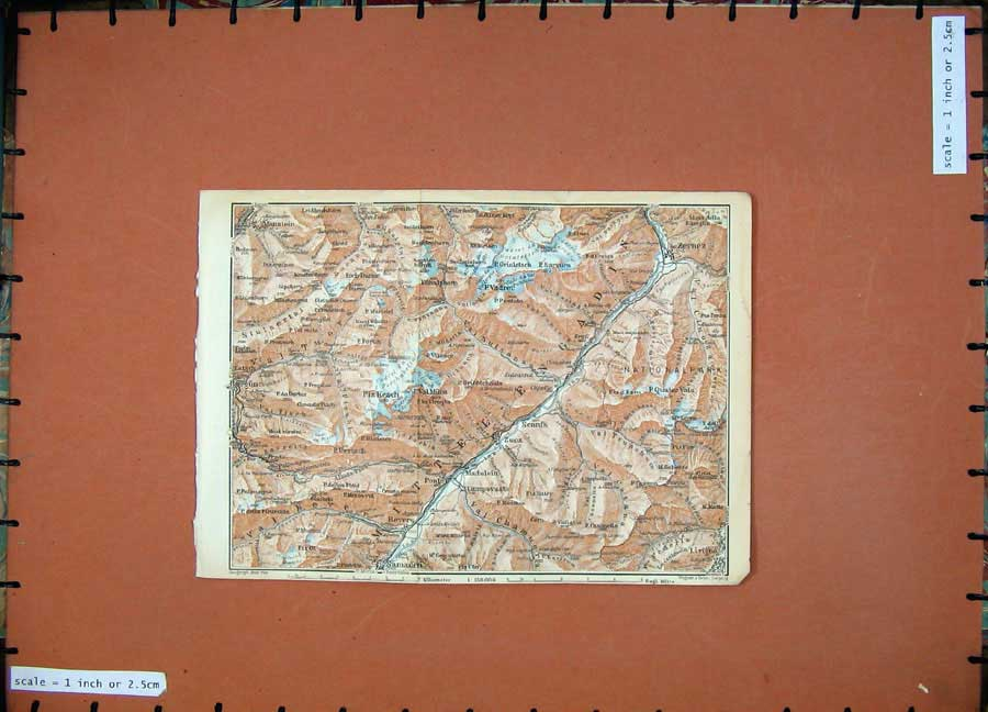 Print C1900 Colour Map Switzerland Zernez Monstein Schuls 168Rd143 Old Original
