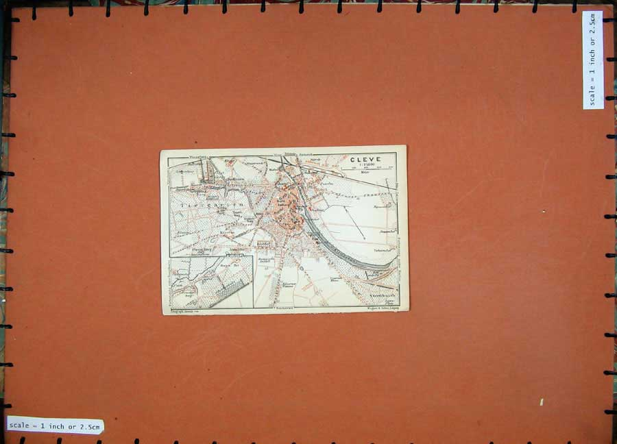 Print 1911 Colour Map Germany Street Plan Cleve Sternbusch 203D144 Old Original
