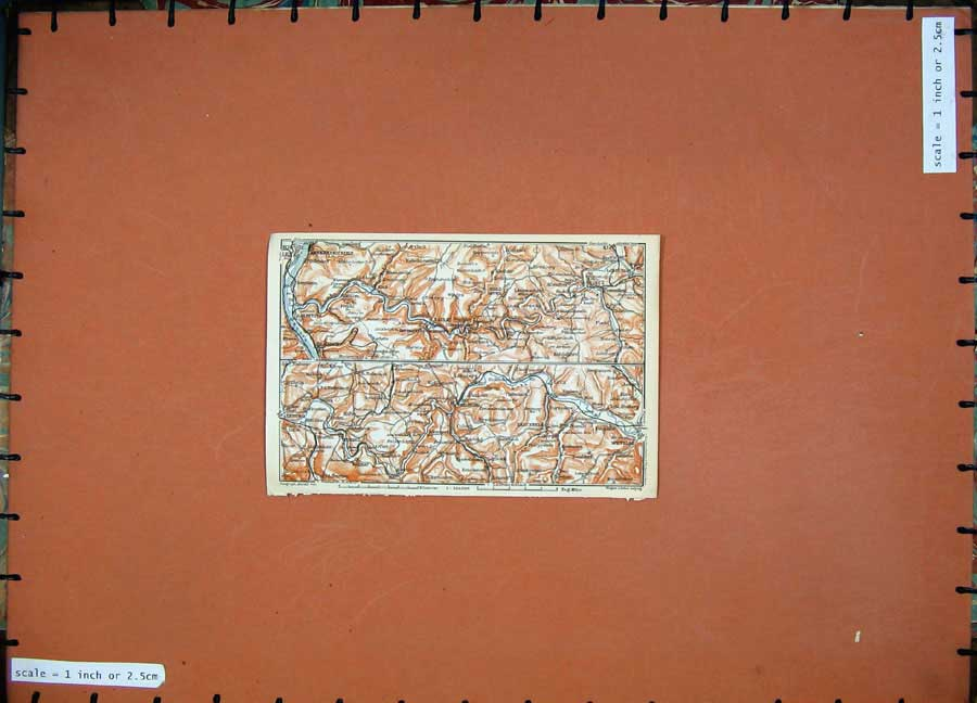 Print 1911 Colour Map Germany Limburg Weilburg Wetzlar 207D144 Old Original