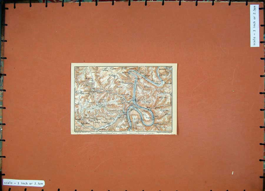 Print 1911 Colour Map Germany Bullay Zell Beuren Bremm Eller 212D144 Old Original