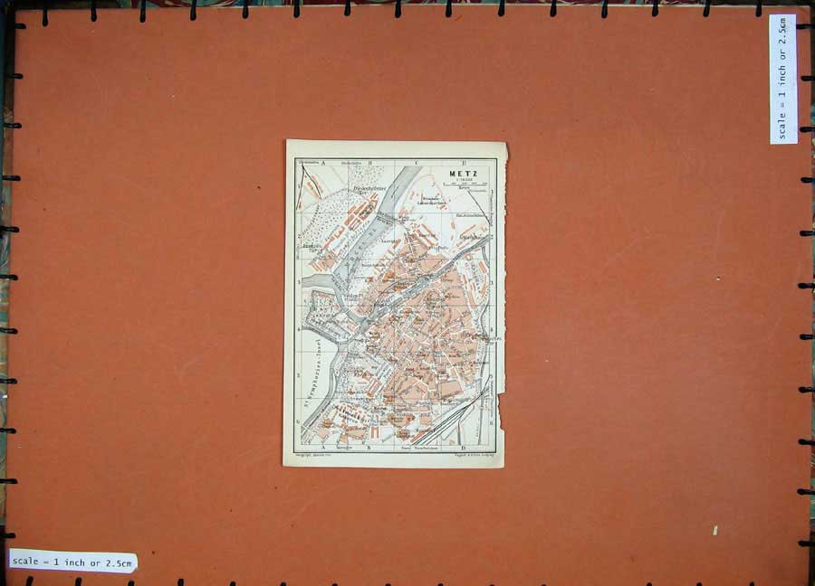 Print 1911 Colour Map Germany Street Plan Metz Mosel Europe 215D144 Old Original