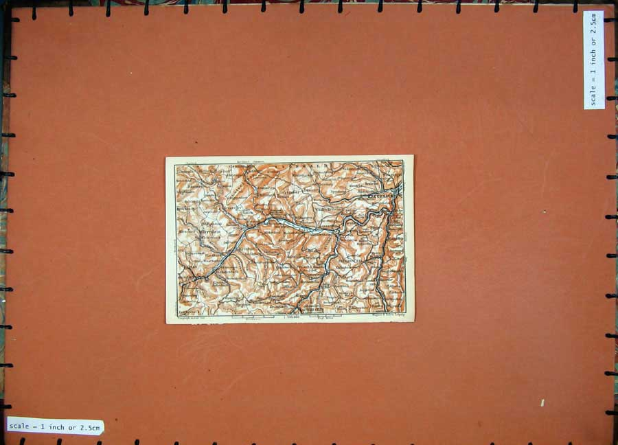 Print 1911 Colour Map Germany Kreuznach Kirn Soonwald Idar 217D144 Old Original