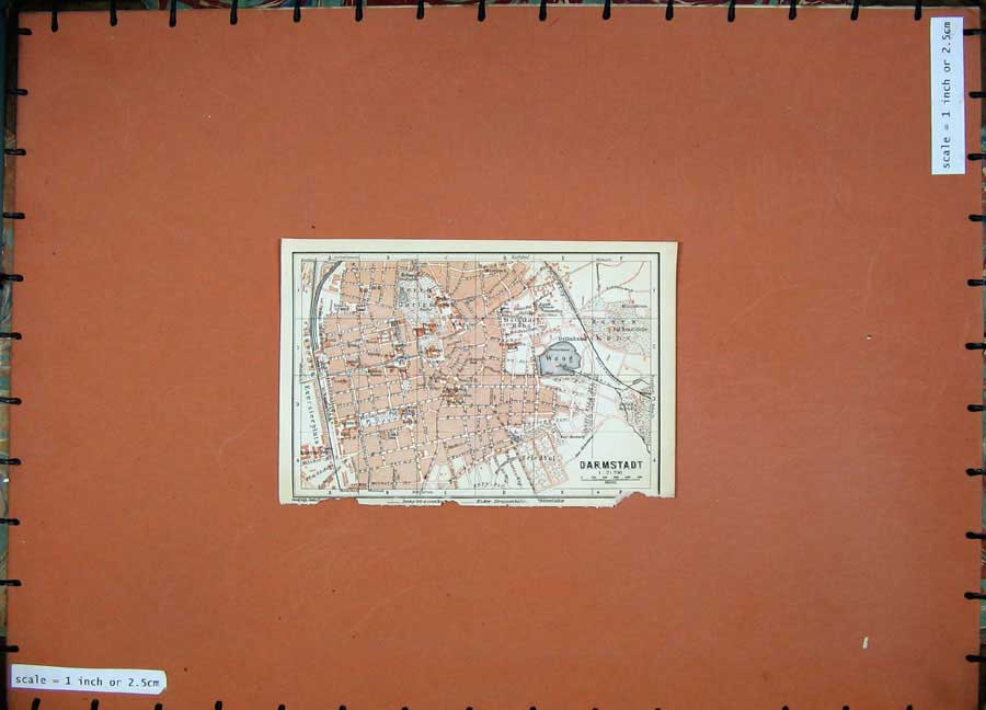 Print 1911 Colour Map Germany Street Plan Darmstadt Woog 222D144 Old Original