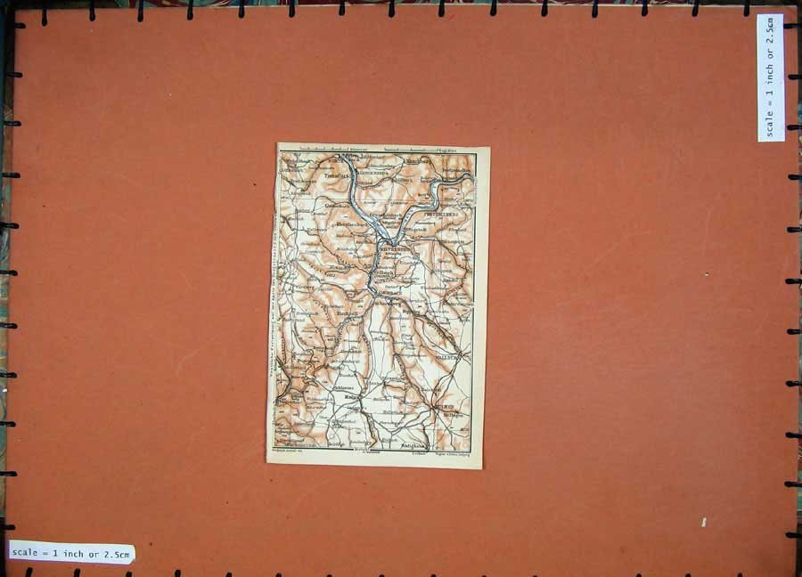 Print 1911 Colour Map Germany Miltenberg Buchen Klingenberg 223D144 Old Original