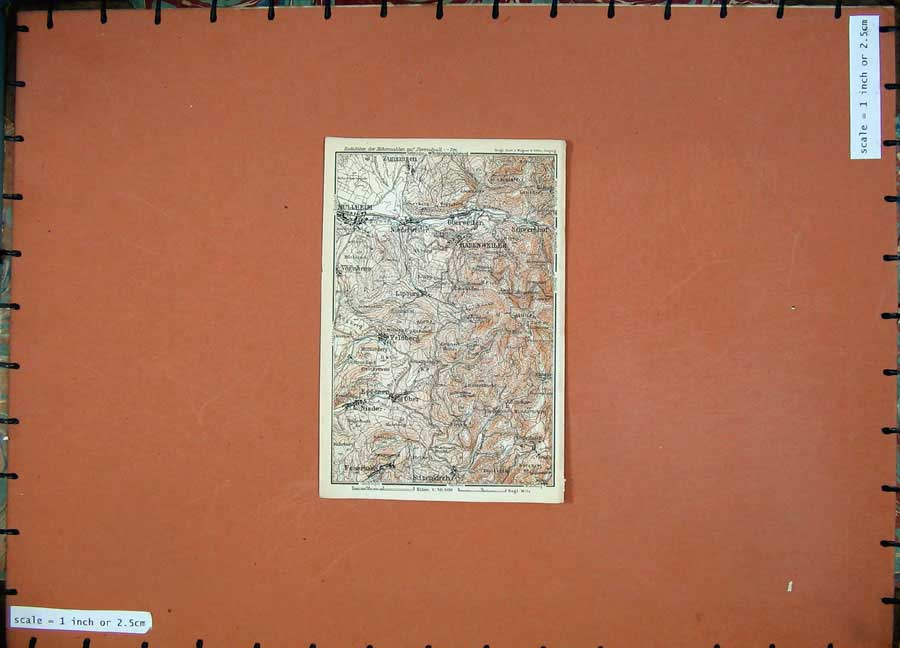 Print 1911 Colour Map Germany Ober Badenweiler Mullheim 230D144 Old Original