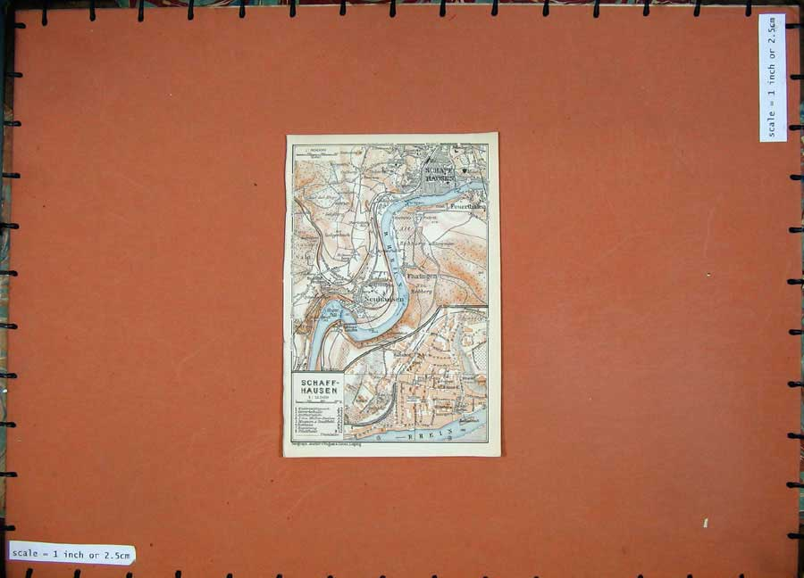 Print 1911 Colour Map Germany Street Plan Schaffhausen Rhein 231D144 Old Original
