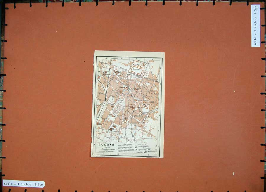 Print 1911 Colour Map Germany Street Plan Colmar Kasernen 238D144 Old Original
