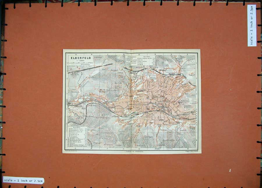 Print 1911 Colour Map Germany Street Plan Elberfeld Kiesberg 243D144 Old Original