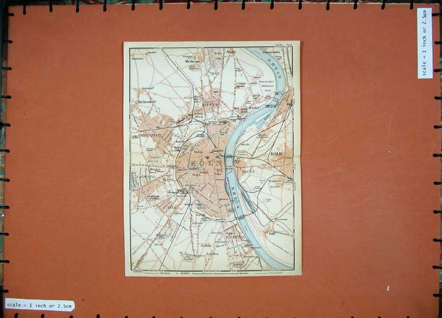 Print 1911 Colour Map Germany Street Plan Koln Kalk Nippes 245D144 Old Original