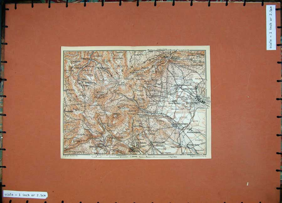 Print 1911 Colour Map Germany Homburg Cronberg Konigstein 253D144 Old Original