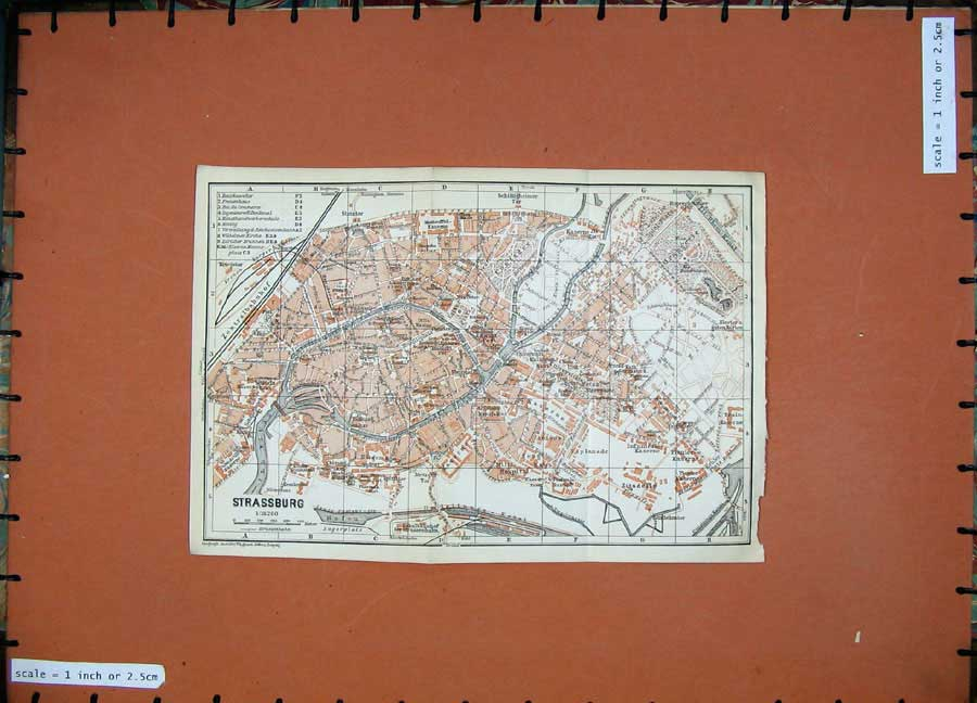 Print 1911 Colour Map Germany Street Plan Strassburg Fluss 260D144 Old Original