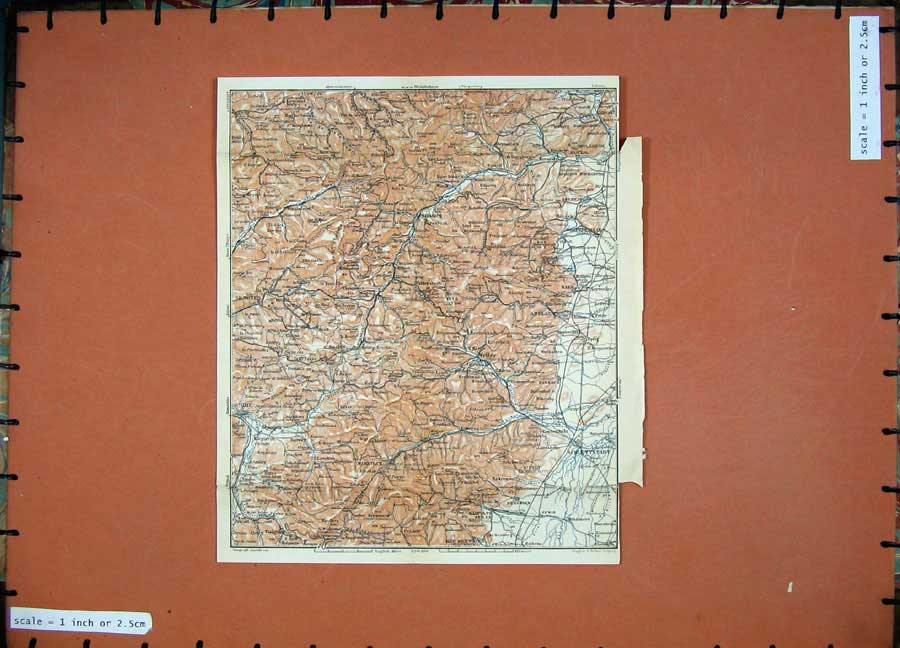 Print 1911 Colour Map Germany Schlettstadt Markirch Mutzig 262D144 Old Original
