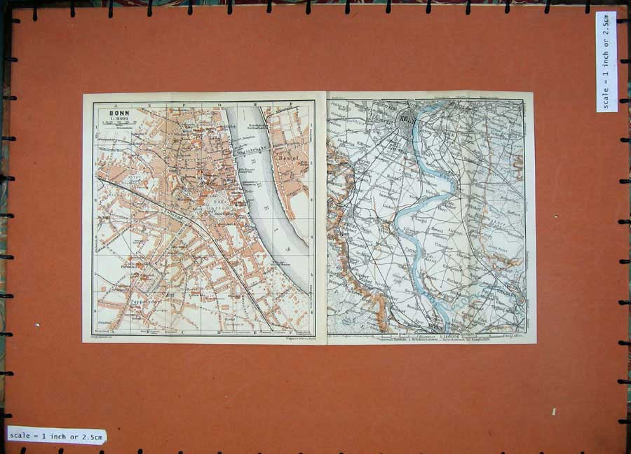 Print 1911 Colour Map Street Plan Bonn Koln Germany Rhein 269D144 Old Original