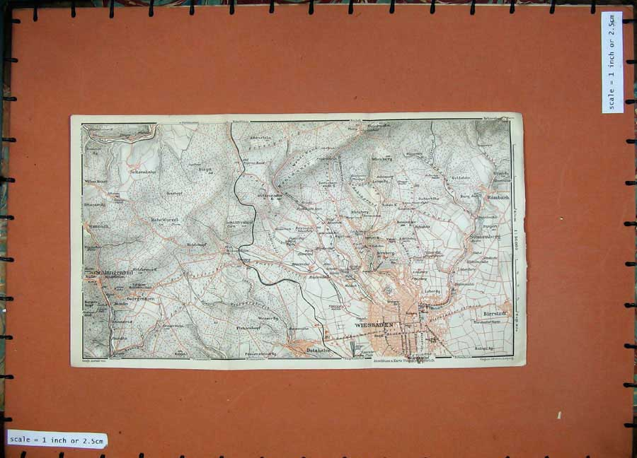 Print 1911 Colour Map Germany Plan Wiesbaden Georgenborn 272D144 Old Original
