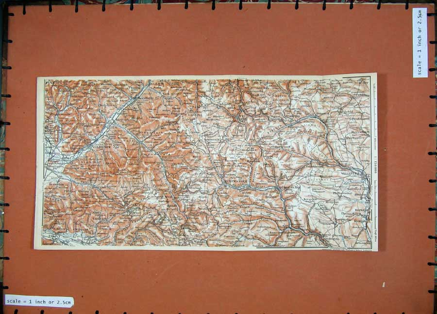 Print 1911 Colour Map Villingen Eurtwangen Elzach Waldkirch 276D144 Old Original