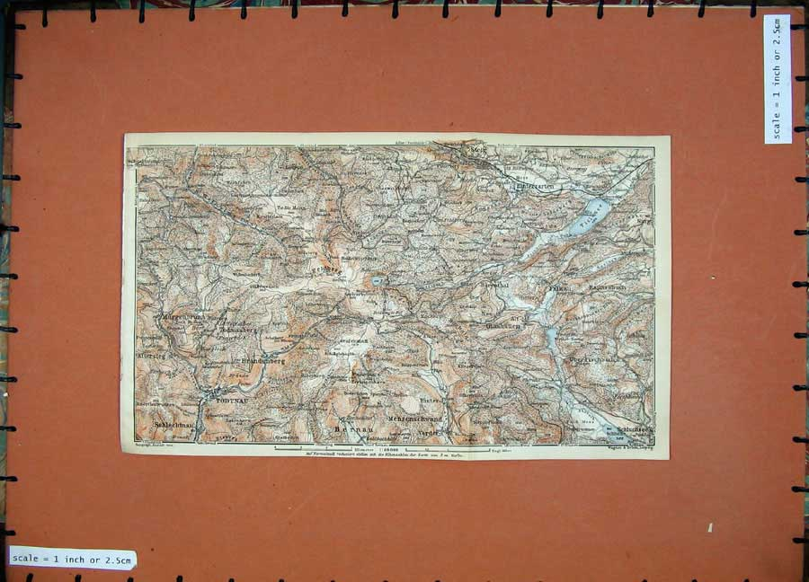 Print 1911 Colour Map Muggenbrunn Todtnau Steig Glashutten 277D144 Old Original