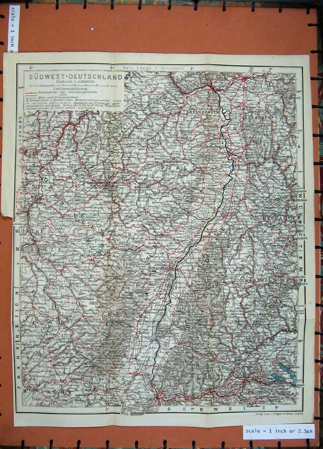 Print 1911 Colour Map Sudwest Deutschland Strassberg Basel 281D144 Old Original