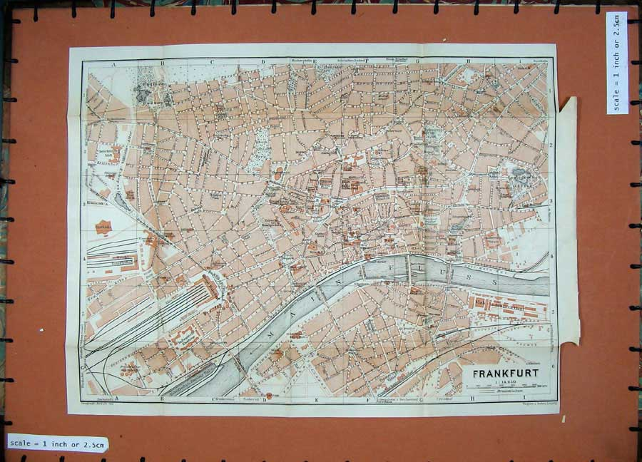 Print 1911 Colour Map Street Plan Frankfurtmain Fluss River 282D144 Old Original